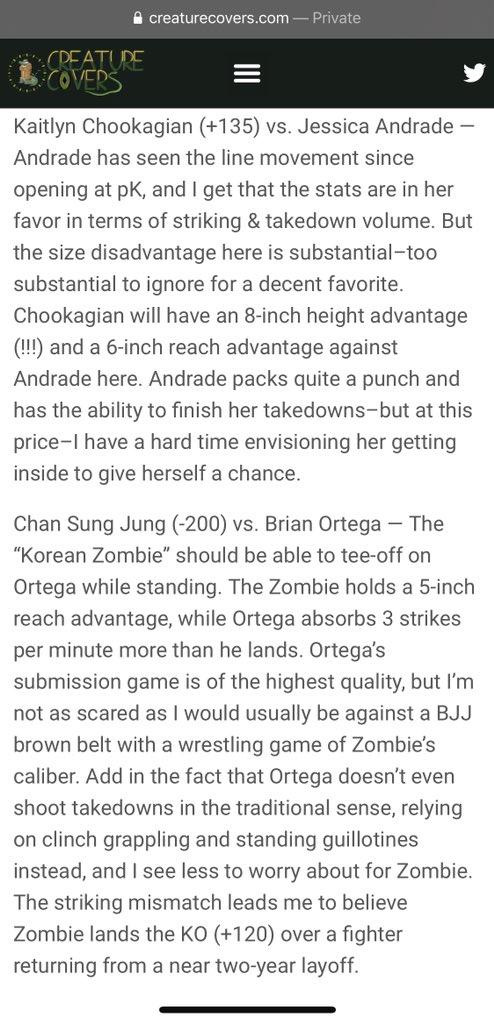 🚨#UFC MAIN EVENT BETS🚨  🐕 Kaitlyn Chookagian +135 vs Jessica Andrade 🐘 Chan Sung Jung -200 vs Brian Ortega (1U risk) 🐕 Sung Jung KO/TKO/DQ +120 ( 1/2U )  PENDING:  🐕 Korean Zombie parlayed w/ Yong Park (EV)  🥊🥊🥊🥊🥊  #GamblingTwitter #UFCFightIsland6 #MMAPicks #UFCpicks https://t.co/BTd0QzUkvd