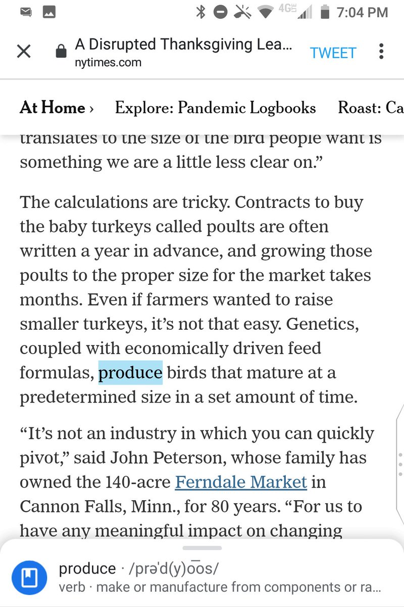 """@nytimes """"produce"""" is a verb-noun-agreement error for """"produces"""" in """"Genetics, coupled with economically driven feed formulas, produce birds that mature at a predetermined size.""""  Genetics takes a singular verb.  Nouns in """"coupled with"""" clauses don't count towards noun-verb-agreement. https://t.co/xLM9ONfQtR"""