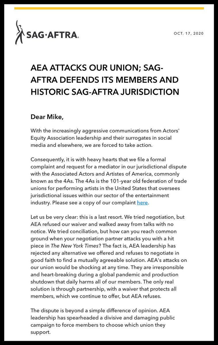 Very behind-the-scenes, but SAG-AFTRA is going to war against Actors' Equity. https://t.co/Tsnlx4X3VX