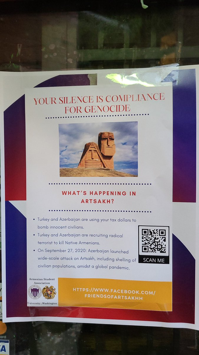 Seattle people are doing it right. All Armenian businesses should display a flyer with basic info about what's going on in Armenia. The QR code is also an easy way to get people to read more about it as well. #StopAliyev #SanctionTurkey #RecognizeArtsakh https://t.co/kSi3lxm16d