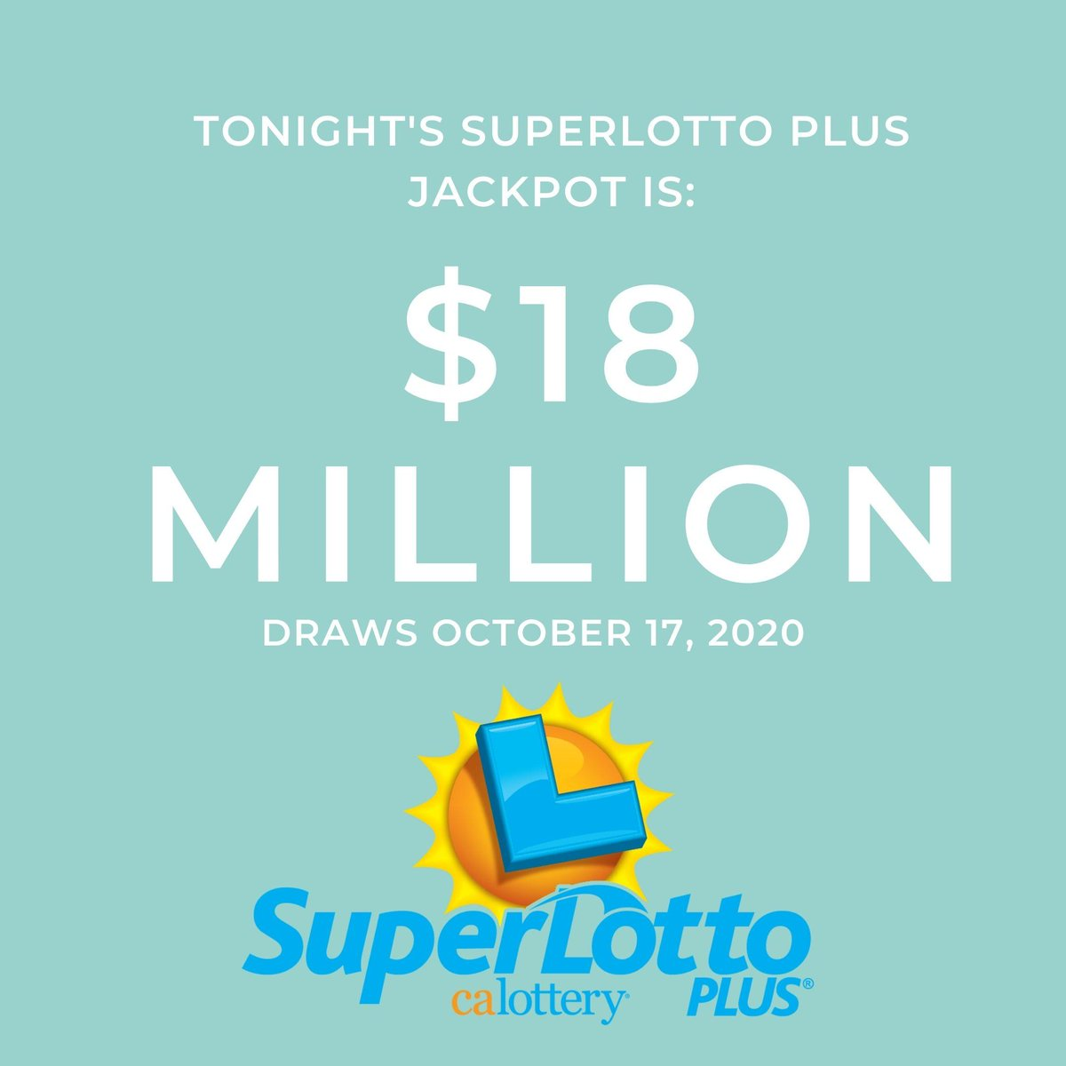 Tonight's #SuperlottoPlus jackpot is $18 Million. Your chance to play is just $1 away! #JackpotAlert #calottery https://t.co/oP6LQ37dAF