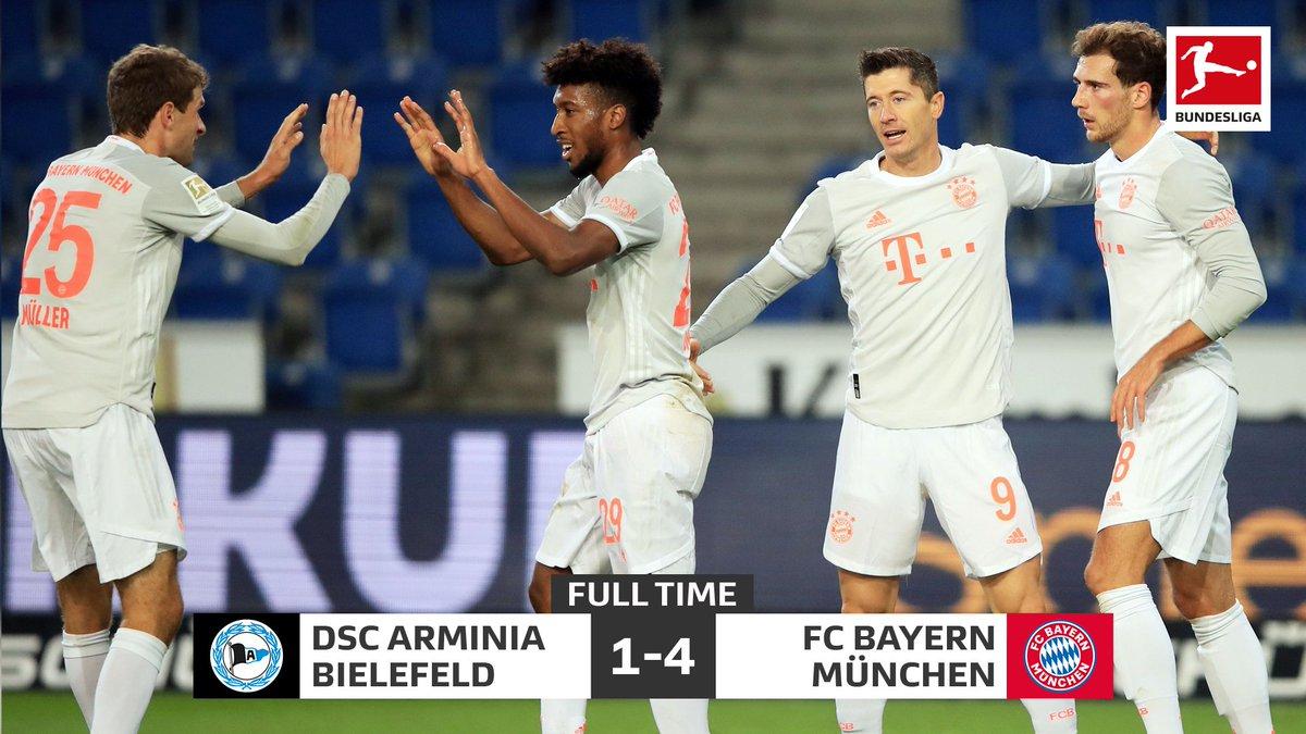 FULL TIME: #Bundesliga: ARMINIA BIELEFELD 1 vs 4 FC BAYERN MÜNCHEN. [58' Ritsu Doan; 8' 51' Thomas Müller 25' 45+1' Robert Lewandowski] #DSCFCB https://t.co/W5phd0FnXX