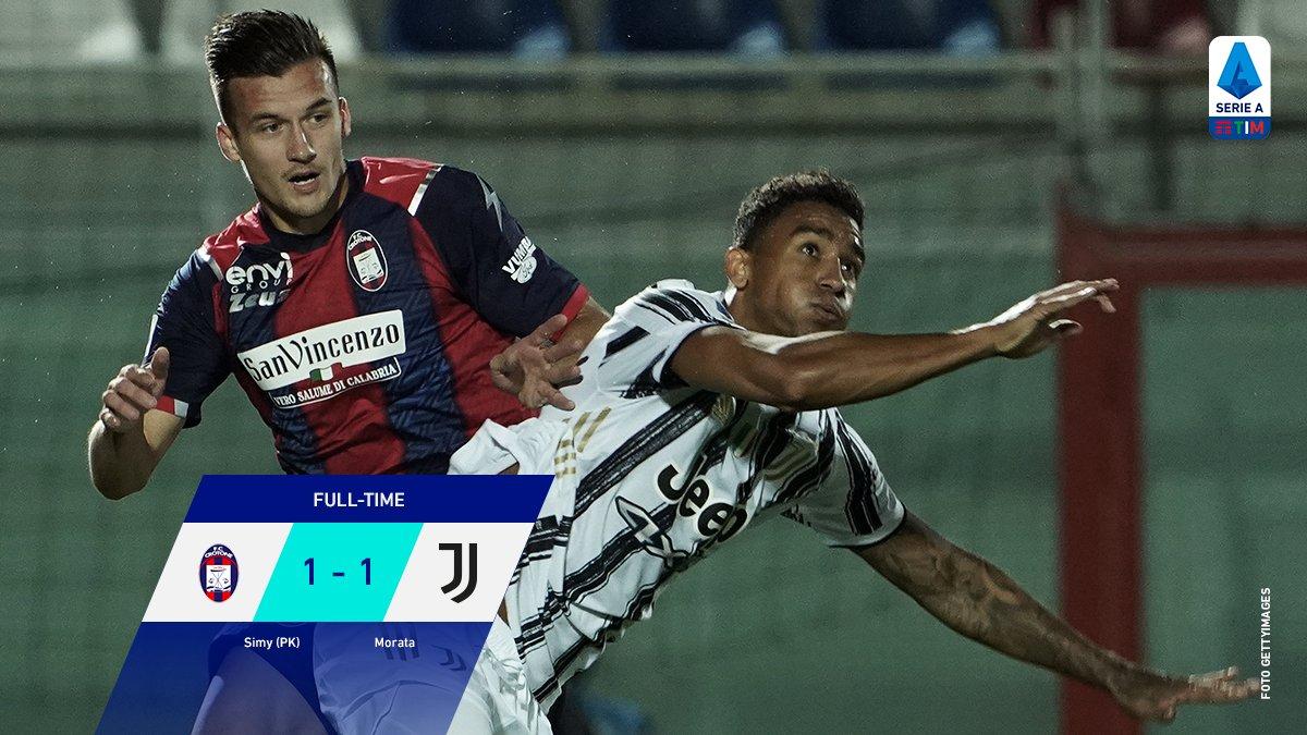 FULL TIME: #SerieA: CROTONE 1 vs 1 JUVENTUS. [12' Simeon Nwankwo (Pen); 21' Álvaro Morata] #CrotoneJuve https://t.co/nB83JImMBb