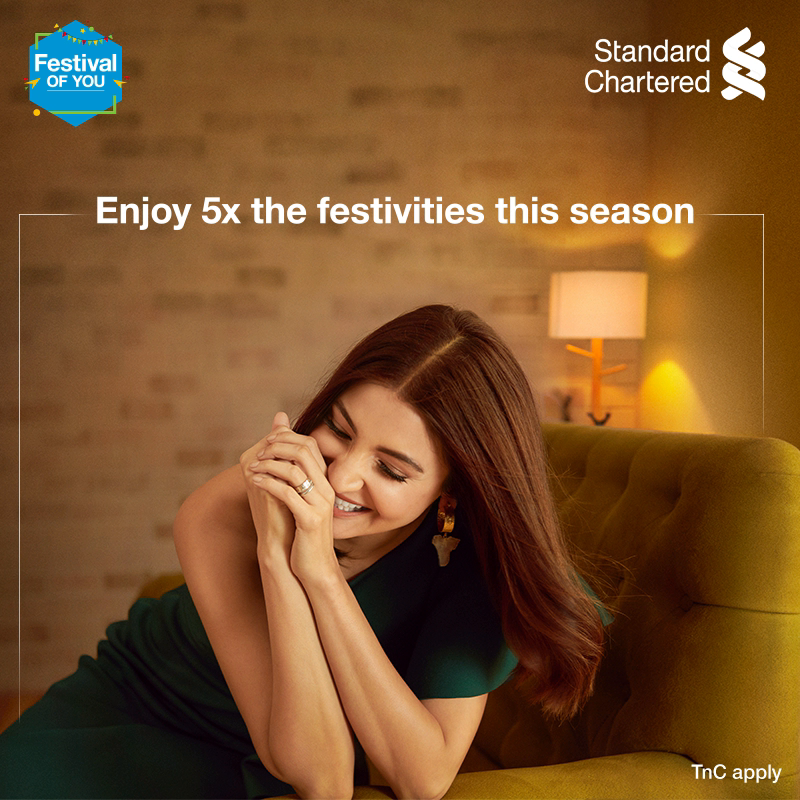 Make the most of this festive season and get 5X reward points on online spends with your Standard Chartered credit cards! Treat yourself to an unforgettable festive season and enjoy the #FestivalOfYou.  To know more,  #FestiveSeason #StandardChartered