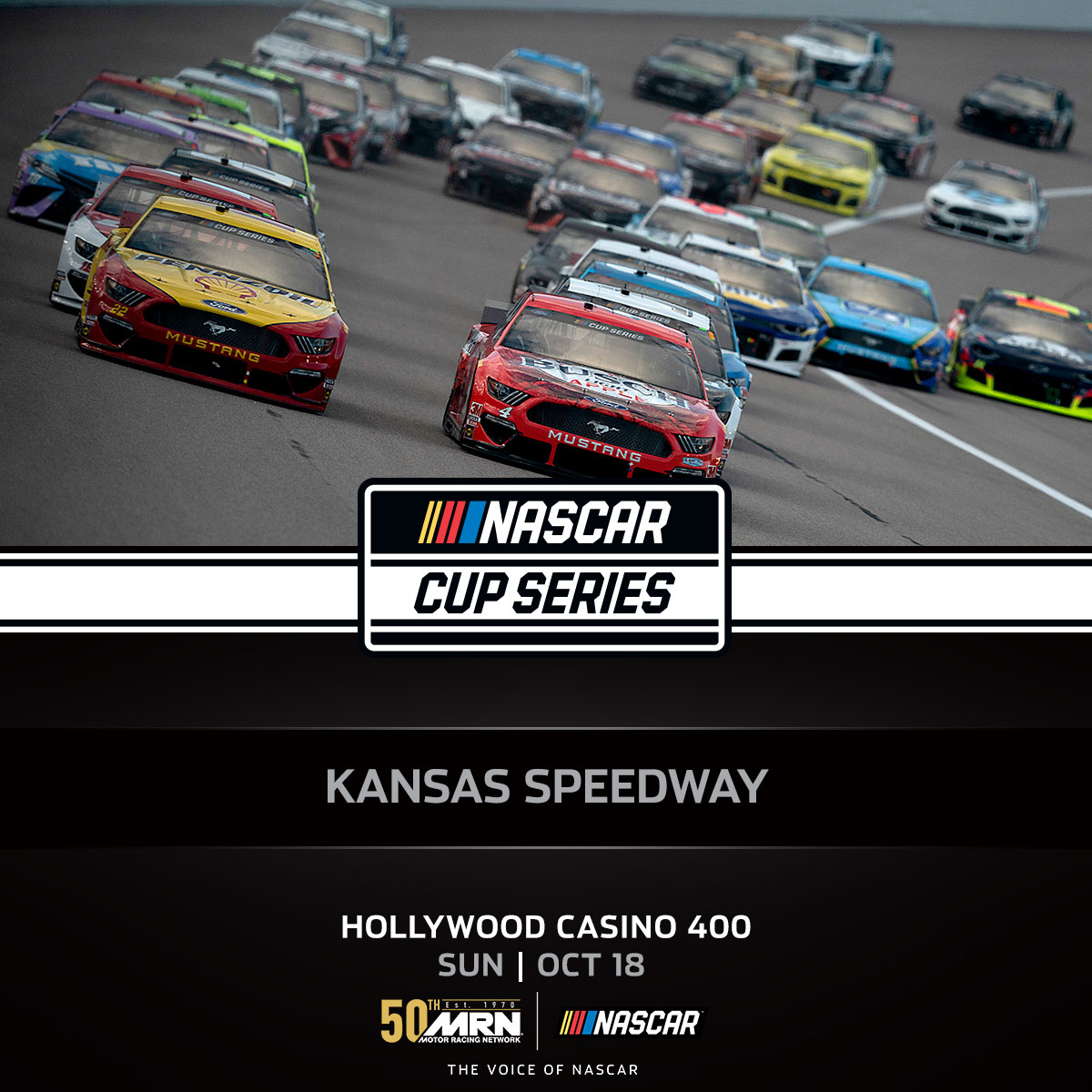 COMING UP IN ONE HOUR! Tune in for the #HC400 @kansasspeedway #AskMRN | #NASCARPlayoffs