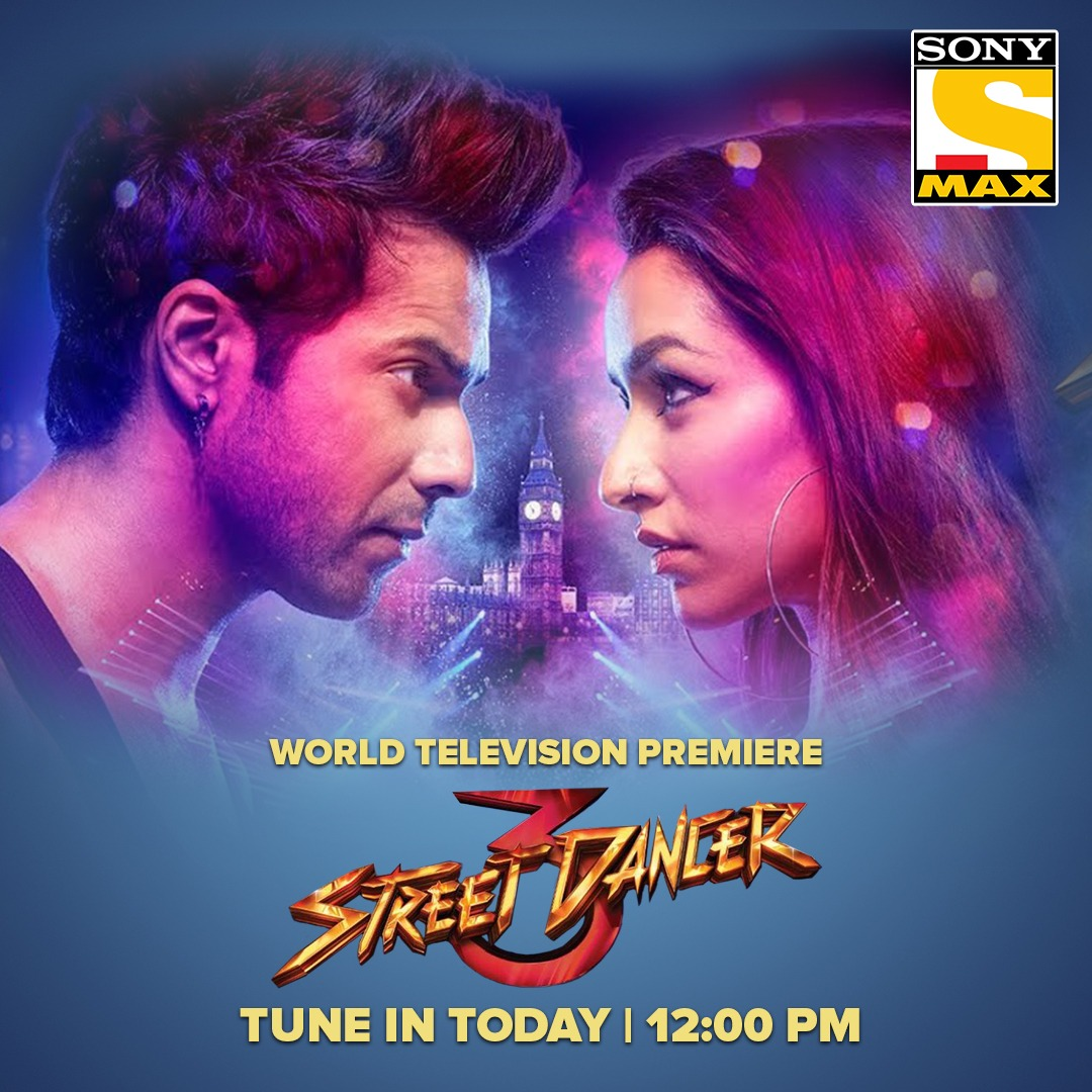 Masti, dhamaal aur fun hoga max kyuki Sony MAX lekar aaya hai the World Television Premiere of Street Dancer 3. Watch it today at 12 PM. #StreetDancer3OnSonyMAX @Varun_dvn @ShraddhaKapoor @remodsouza