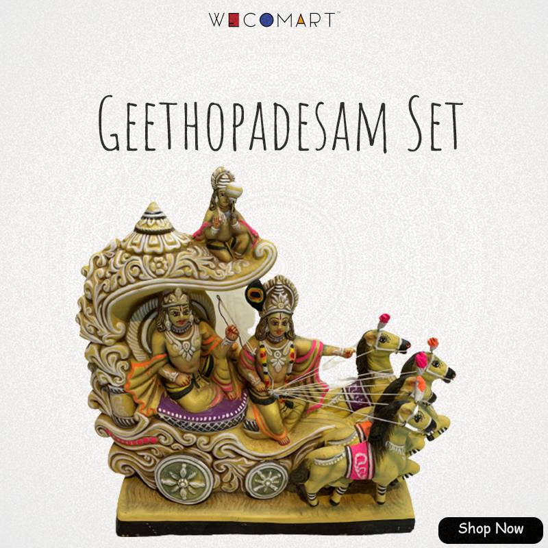 Golu is the festival exhibit of dolls and figurines in South Asian nations throughout the season of Autumn, uniquely during the time of Navaratri of Hinduism. Buy Geetopadesam Golu Doll set at https://t.co/wamOuVhMqY . #wecomart #dusara #navratri #navaratri #krishna #mahavishnu https://t.co/NTMnn9sA8S