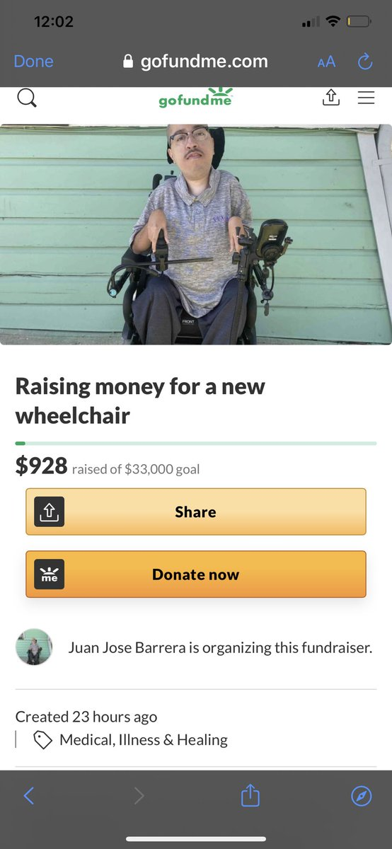 If 3% of you give just 10 dollars, Juan gets a new wheelchair. Link: gofundme.com/f/1x1krrxnk0