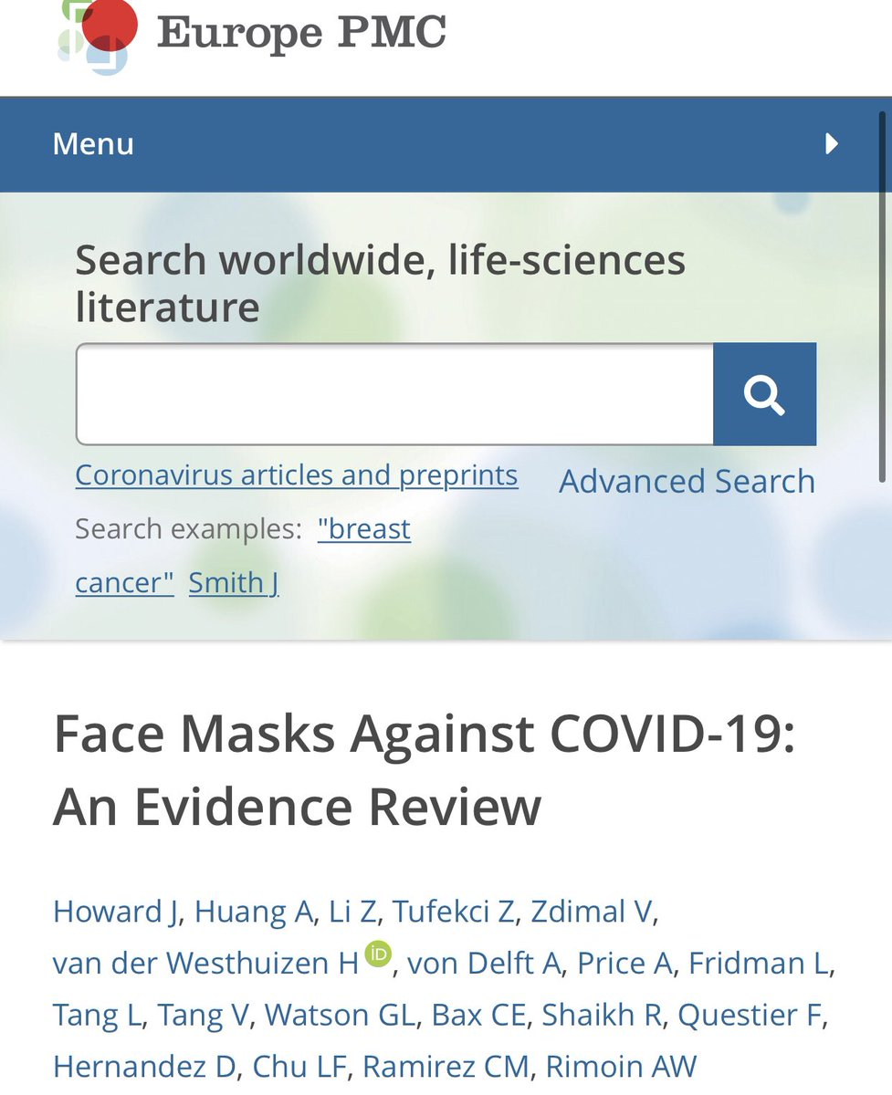 """4) A big scientific evidence review study on face masks. """"We recommend that public officials and governments strongly encourage the use of widespread face masks in public, including the use of appropriate regulation."""" #COVID19 europepmc.org/article/PPR/PP…"""