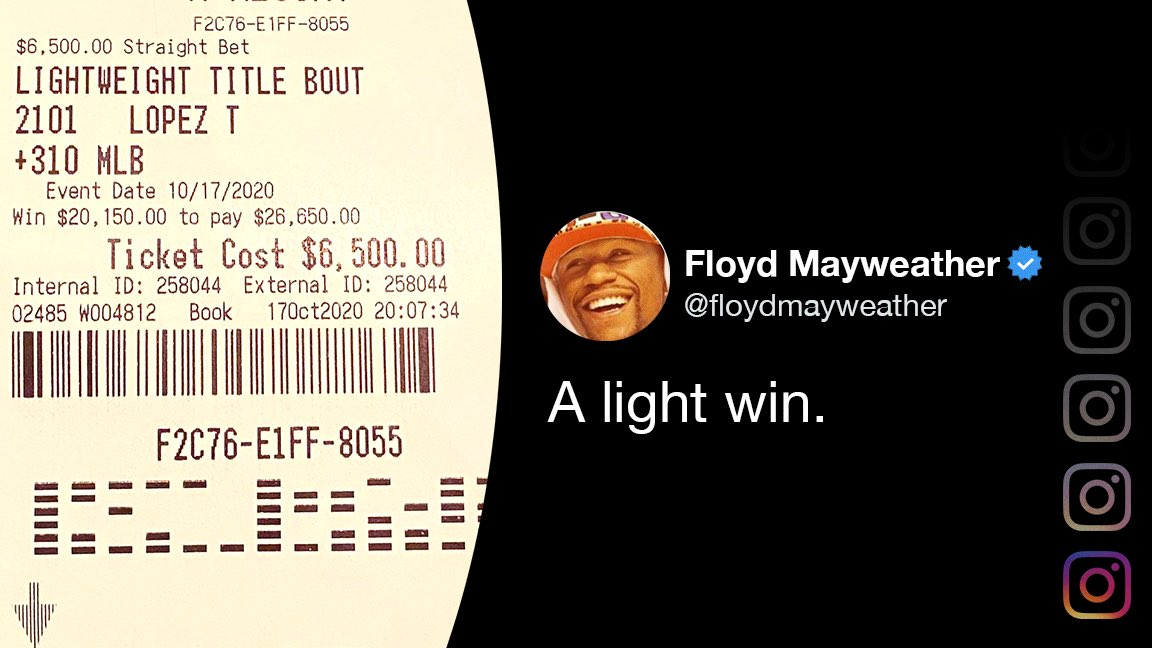 Floyd Mayweather posted his winning betting slip for a wager on Teofimo Lopez. https://t.co/WNrLjX11KC