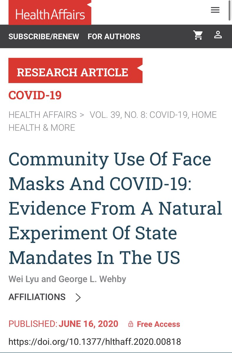 """5) Another big study on #masks. """"As a result of the implementation (mask) mandates, more than 200,000 COVID-19 cases were averted by May 22, 2020. The findings suggest that requiring face mask use in public could help in mitigating the spread of #COVID19"""" healthaffairs.org/doi/10.1377/hl…"""