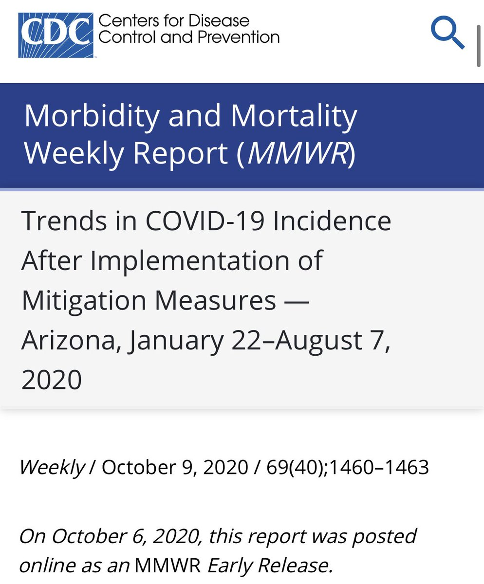 6) Here is meanwhile a recent CDC @CDCMMWR report on Arizona outbreak. Masks clearly indicated to have helped. #COVID19 #Masks cdc.gov/mmwr/volumes/6…