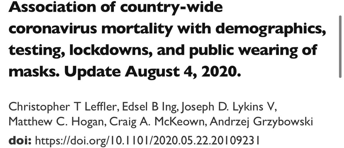 "10) Another study (preprint) on masks and deaths. ""Conclusions. Societal norms & govt policies supporting wearing of masks by the public, as well as international travel controls, are independently associated w/ lower per-capita mortality from #COVID19"" medrxiv.org/content/10.110…"