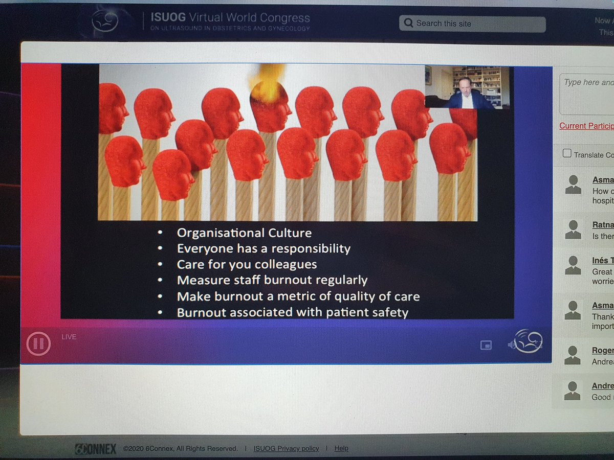 @proftombourne reiterating an incredibly important take-home message again at #ISUOG2020: teamwork, compassionate leadership, organisational culture, and support for those struggling needs to be the norm in medicine. #burnout #wellbeing @ISUOG https://t.co/PoH22x0bLK