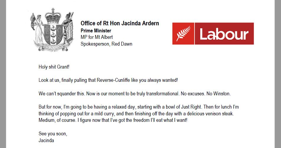Jacinda Ardern to Grant Robertson RE: Time for a revolution baby! #nzpol #satire https://t.co/kcorFcQbTX