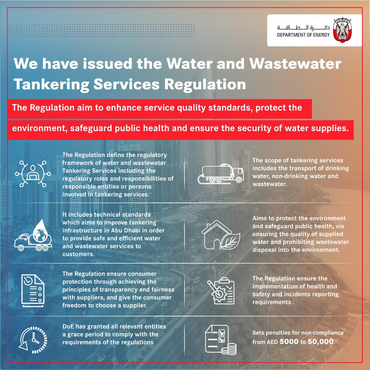 We have issued the Water and Wastewater Tankering Services Regulation to improve service quality standards, protect the environment, safeguard public health, ensure the security of water supplies with the highest international quality standards, and protect water from wastage. https://t.co/luDtMDoDDI