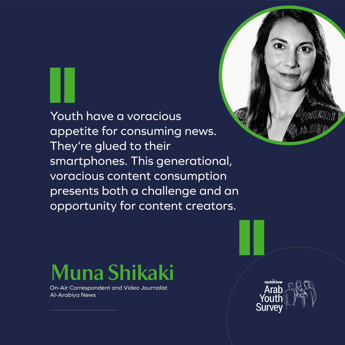 @Munashik , on-air correspondent and video journalist for Al-Arabiya, gives her unique perspective on the digital generation of the 12th Annual @asdaabcw #ArabYouthSurvey. Read her analysis by downloading the whitepaper at bit.ly/358JdlR