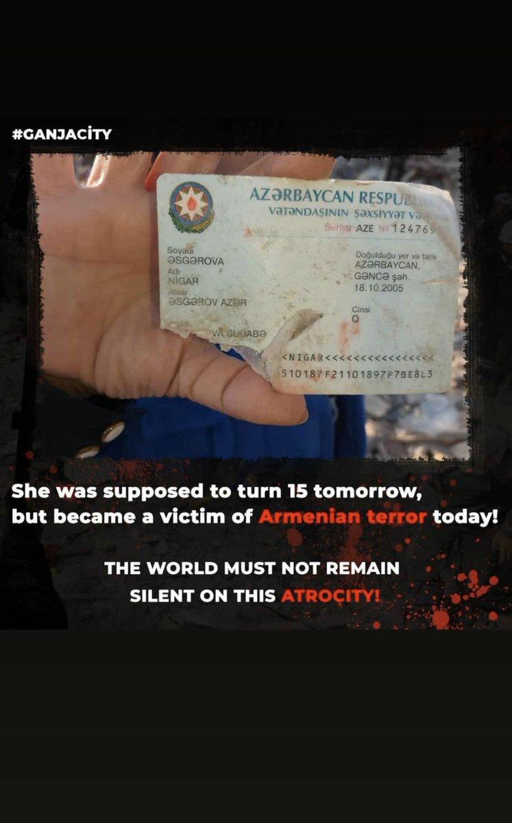@nytimes Today is Nigar's birthday.If she lived,she would be 15 years old💔#HappyBirthdayNigar ...  🆘Armenia attacked Civilians in Ganja again!! Stop ARMENİA #Warmenia!Wake Up World! #PrayForGanja #StopArmenianTerrorism #ArmeniaKillsChildren #PrayForAzerbaijan #JusticeForAzerbaijan https://t.co/4CNrColneR