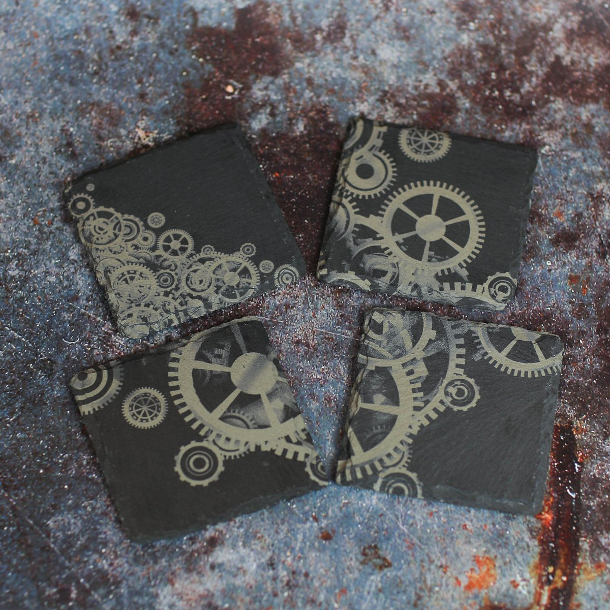 SteamPunk Slate Coasters - the perfect way to make a statement. Only £15 inc delivery to mainland Uk for 4 coasters https://t.co/W3A2VbesYb #black #stone #steampunk #coaster #drinksmat #steampunkcoaster #dragonsknightdesigns
