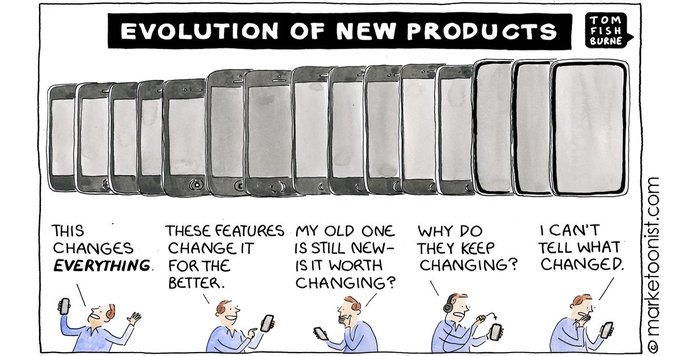 """""""Evolution of New Products"""" - new cartoon on breakthrough versus incremental innovation via @marketoonist #innovation #tech #marketing #IoT #mobilemarketing https://t.co/3OuZgl6iEH"""