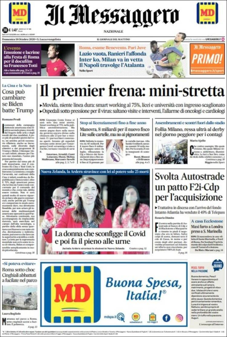 IL MESSAGGERO  https://t.co/2aBVSajw6B #r2p #IlMessaggero #Italia #Italie #Italy #Coronavirus #UE #USA #Covid #SergioMattarella #GiuseppeConte #Alitalia #Macron #Obama #Biden #Trump #Napoli #Football #Mib30 #Ferrari #Macron #F1 #Leclerc #Vettel #Binotto #Beirut #Addison #TikTok https://t.co/oMDFmOjoXL
