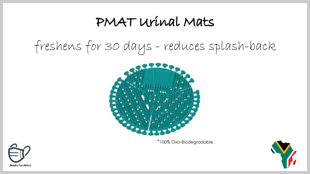 PMAT Urinal Mats  * urinal screen * freshens for 30 days * reduces splash-back releasing a pleasant fragrance * Made in South Africa * MOQ 200 * R21-55 incl.  #MasksForAfrica #PMAT #screen #urinal #PPE #mat #mats #UrinalMats #healthcare #health #hygiene #hygieneproducts #RSA https://t.co/oZquh8kPeh