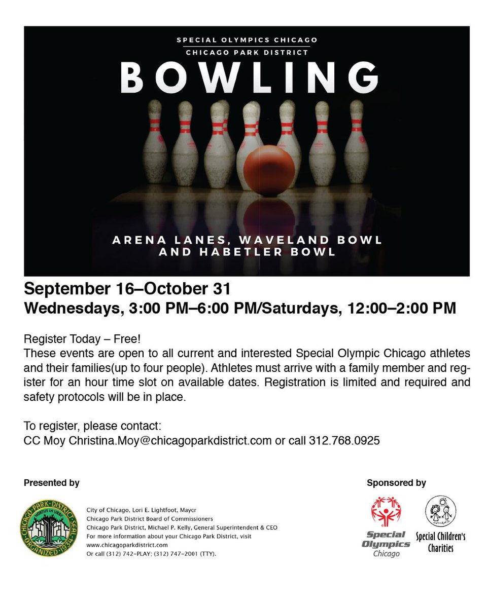 Come get a strike at bowling on Wednesday, October 21! One hour shifts start at 2:00 PM, but other times are available. Reserve your spot at Arena Lanes, Waveland Bowl, or Habetler Bowl! https://t.co/sw5KdtR6KE https://t.co/fyr64rSoLY