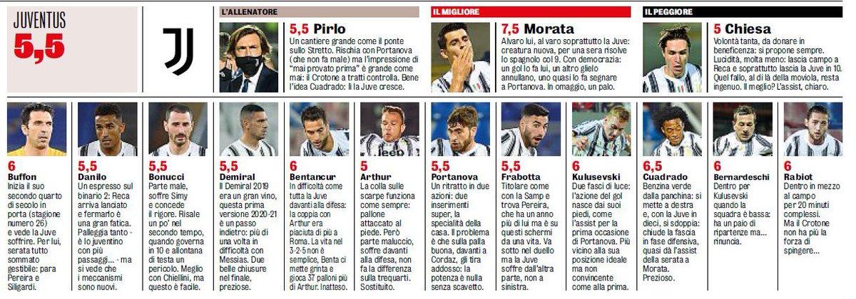 Juventus player ratings vs Crotone. Morata the best.   [GdS] https://t.co/os7Q09Z9V8