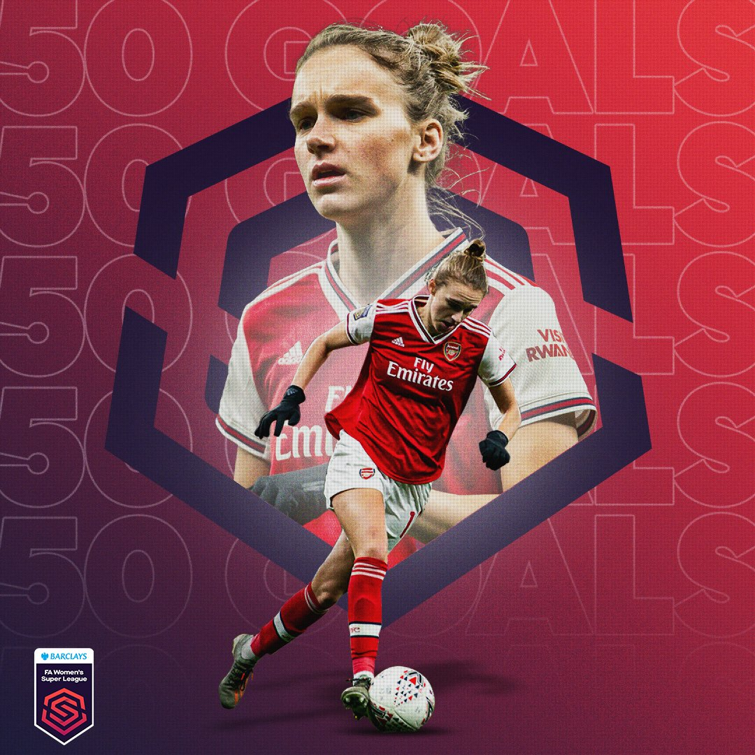 The first player to score 50 goals in the #BarclaysFAWSL 👏 @VivianneMiedema 👑