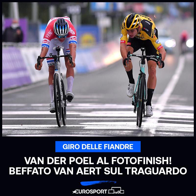 VAN DER POEL! 🏆  E' l'olandese a vincere il Giro delle Fiandre battendo in volata al fotofinish Wout Van Aert 😱🔥🇧🇪  #EurosportCICLISMO | #Fiandre https://t.co/6i6HFc2zYD