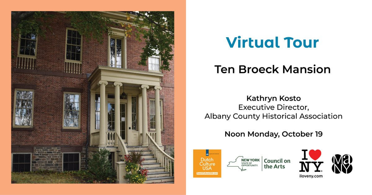 .@nysmuseums presents virtual tours of Dutch colonial houses in Albany, NY. On Monday, Oct 19 12pm, join the tour of Ten Broeck Mansion, built in 1798 for Brigadier General Abraham Ten Broeck & his wife Elizabeth Van Rensselaer. Register: https://t.co/t7NtzLS8V1 #SharedHeritage https://t.co/bswL4Bgfa3
