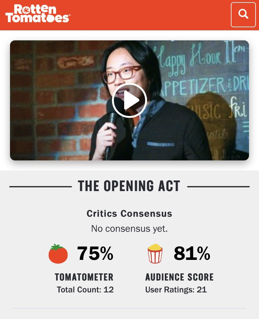 """""""The Opening Act"""" is FRESH on @RottenTomatoes Check 'er out on VOD (amazon/iTunes) and feel free to rate it on RT, IMDB, iTunes or Amazon. THANKS to all that have watched!!!! #theopeningact https://t.co/7OdiQKNzhb"""