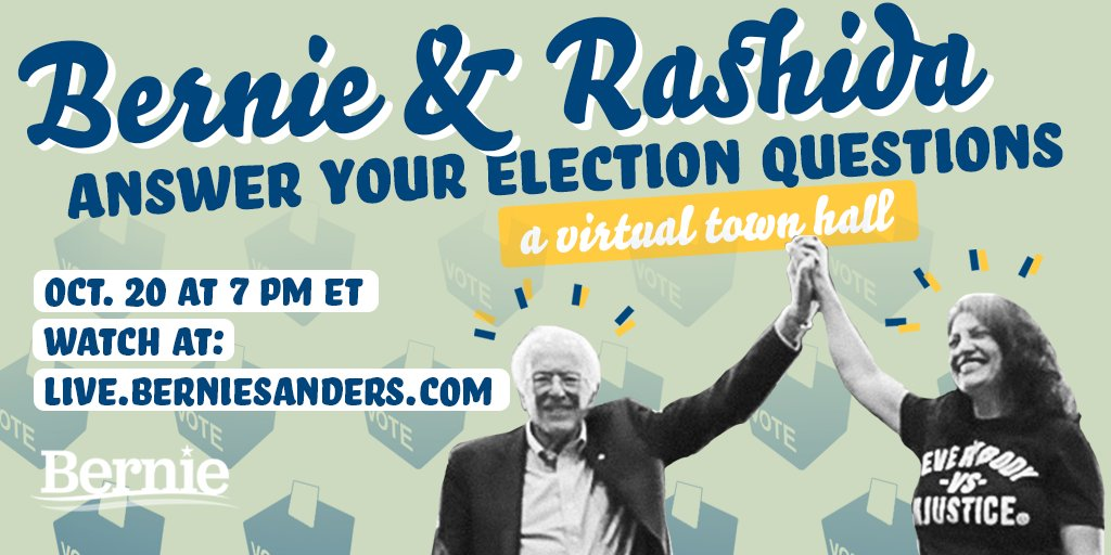 Together, we can win Michigan, defeat Donald Trump, and create a country that works for all of us, not just the 1%. Join me and @RashidaTlaib this Tuesday, October 20 for a virtual town hall with special guests. Watch at live.berniesanders.com.
