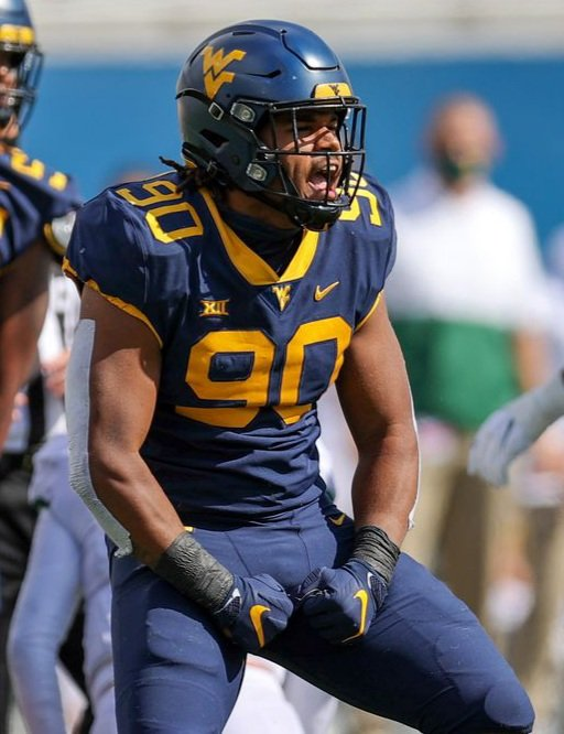 How deep is this WVU defensive line? Akheem Mesidor is No. 2 in the Big 12 in sacks and hes been on the field about as often as the kicking tee.