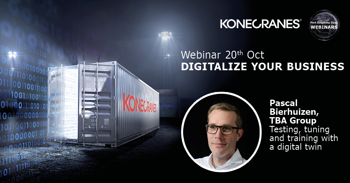 "You've heard of #digitaltwins? Pascal Bierhuizen will describe how digital twinning can take your container handling operation to a higher level. Join our ""Digitalize your business"" #webinar on October 20. Register here: https://t.co/i7dNAEtG5y #portsolutionsdays #digitalization https://t.co/WseR6VfFtc"
