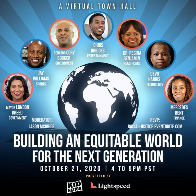 Excited to be a part! @KidNation is proud to present w/ @Lightspeedventurepartners  a Virtual Town Hall on Weds, 10/21. Join leaders across industries as they explore how to dismantle inequities and advocate for our next generation