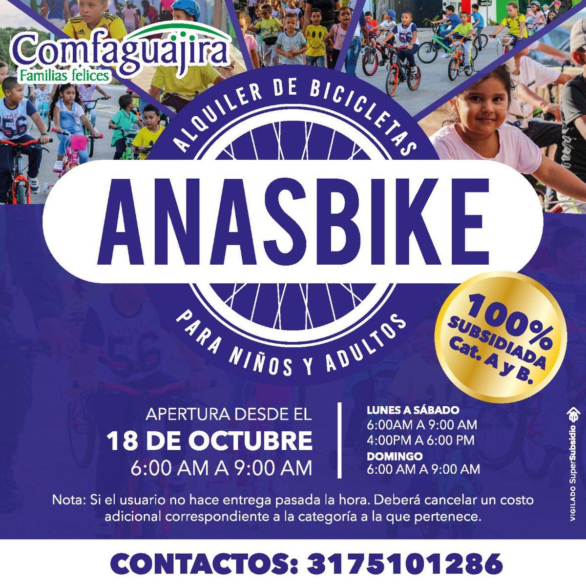 Te invitamos a disfrutar del servicio de alquiler de bicicletas. Anasbike. Te esperamos desde las 6 am en Anas Mai. Anímate y Participa. Contactos 📲3175101286 #AnasBike #AlquilerDeBicicletas #Comfaguajira https://t.co/Vx2zeOufeq