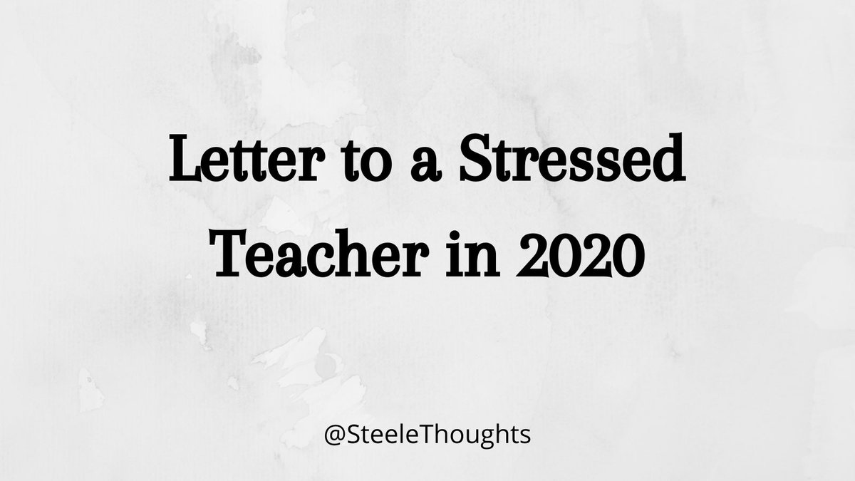 A NEW BLOG POST: steelethoughts.com/2020/10/letter…
