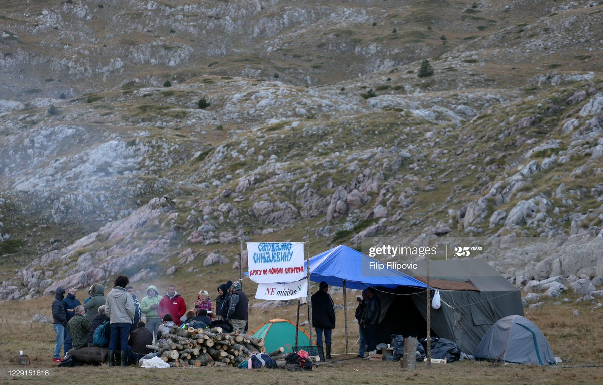 Environmental activists and local farmers camp on the mountain #Sinjajevina to protest the Montenegrin army's planned live-fire exercise in Krnja Jela, Montenegro.  📸: Filip Filipovic https://t.co/b5qb2nL1lb