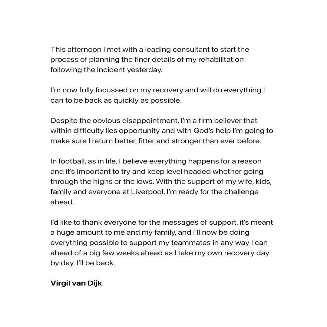 Virgil van Dijk (@VirgilvDijk) on Twitter photo 18/10/2020 22:24:38
