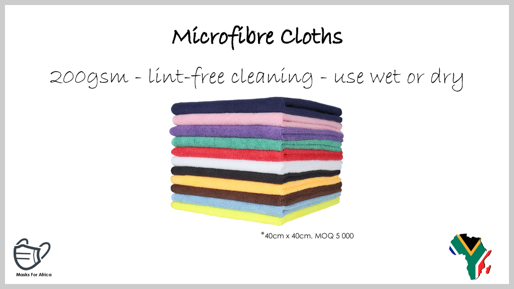 Microfibre Cloths  * 40cm x 40cm - 200gsm * lint-free cleaning * highly absorbent * use dry or damp * MOQ 5 000 * R7-50 incl.  #MasksForAfrica #microfibre #cloths #PPE #Medicare #ppesupplies #SouthAfrica #hygiene #hygieneproducts #cleaning #cleaningproducts #microfibercloth https://t.co/FjFEeYc7uE
