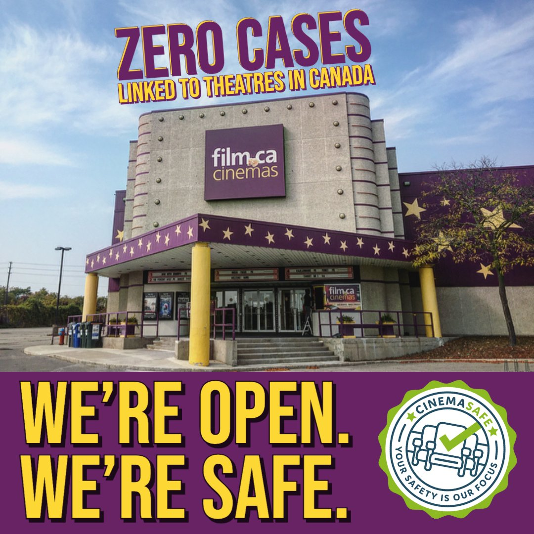 We're open & safe! 🎟🎬   Did you know there have been ZERO cases of COVID linked back to theatres in Canada? 👏 We plan to keep it that way 💜   Check out our COVID-19 Procedures here: https://t.co/qFX96q1qf1 🏠   #safetyfirst #openforbusiness https://t.co/cUDx9BROWx