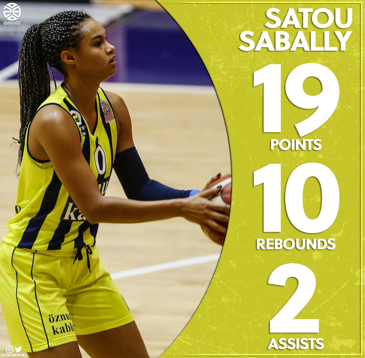 Satou Sabally (@satou_sabally) With Another Impressive Double Double Performance Today In The @FBKadinBasket Win! #brkfstclb https://t.co/vHGx8BZE24