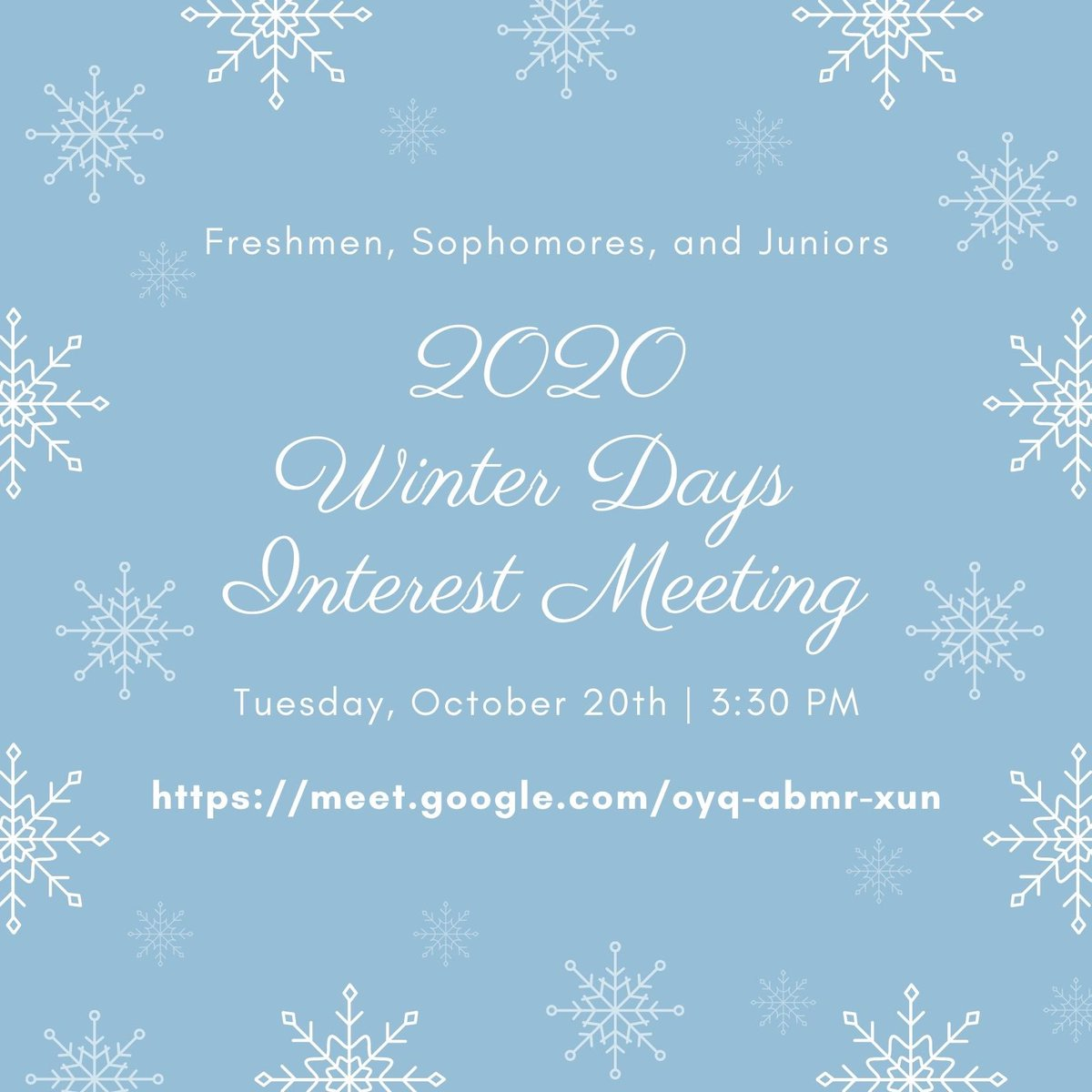 Winter days meeting this Tuesday at 3:30 pm!!! https://t.co/bn3hs7mScn