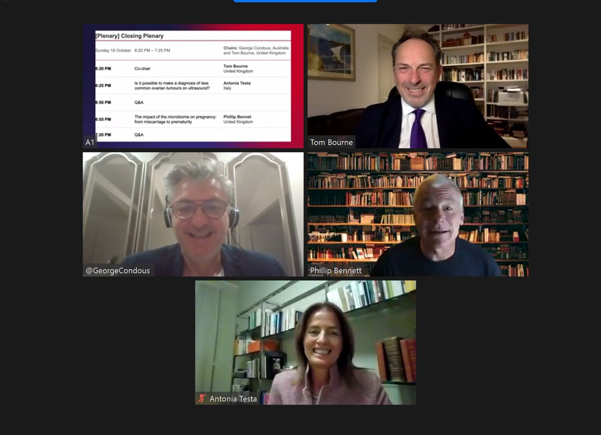 On now, behind the scenes of the final session of #ISUOG2020 with Co-chairs Prof. George Condous & Prof. Tom Bourne with plenary lectures from Prof. Antonia Testa & Prof. Phil Bennett #LoveUltrasound @GeorgeCondous @proftombourne https://t.co/pGPqxF8uIr