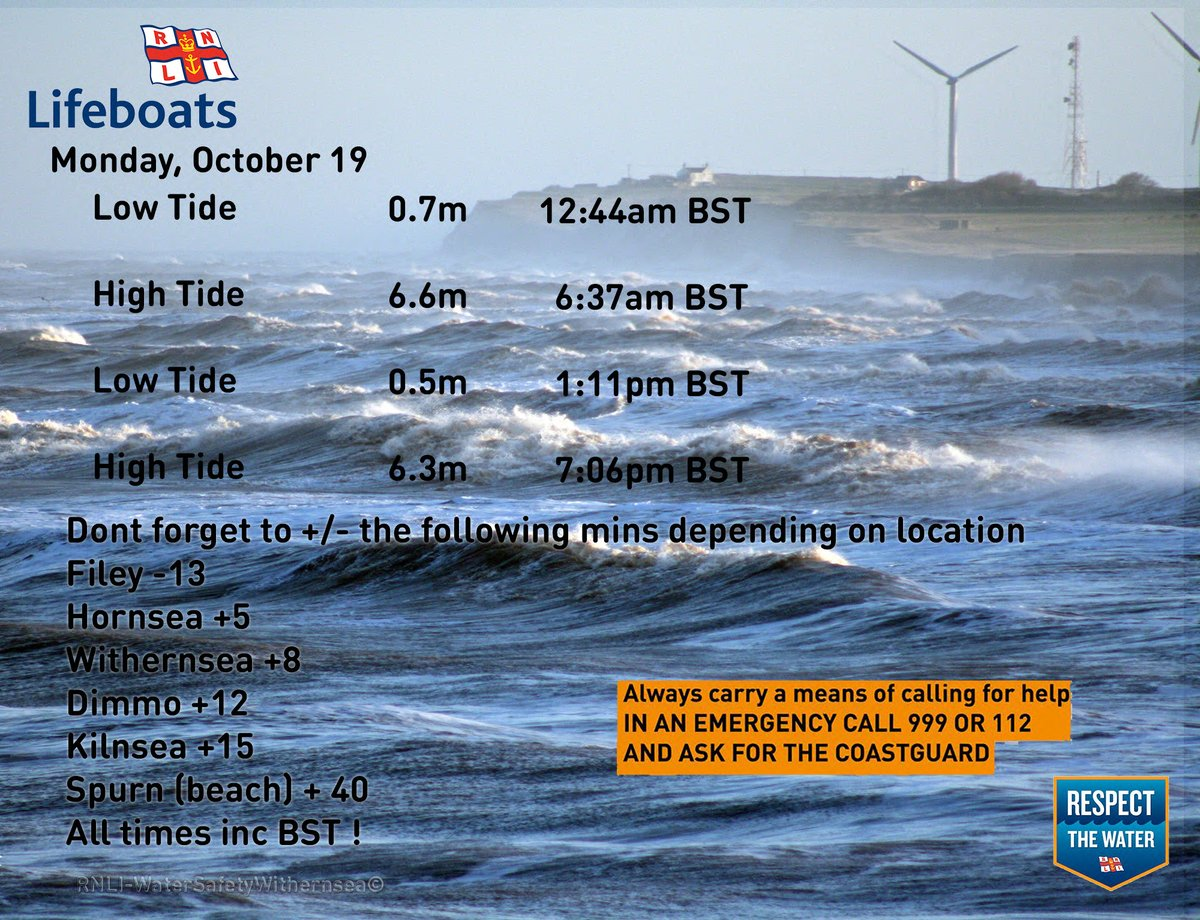 Monday October 19 2020🌊⏲️ #RespectTheWater #BeWaterAware #BeBeachSafe #TideTimes #WaterSafety #Withernsea https://t.co/CEc5xqOFx4