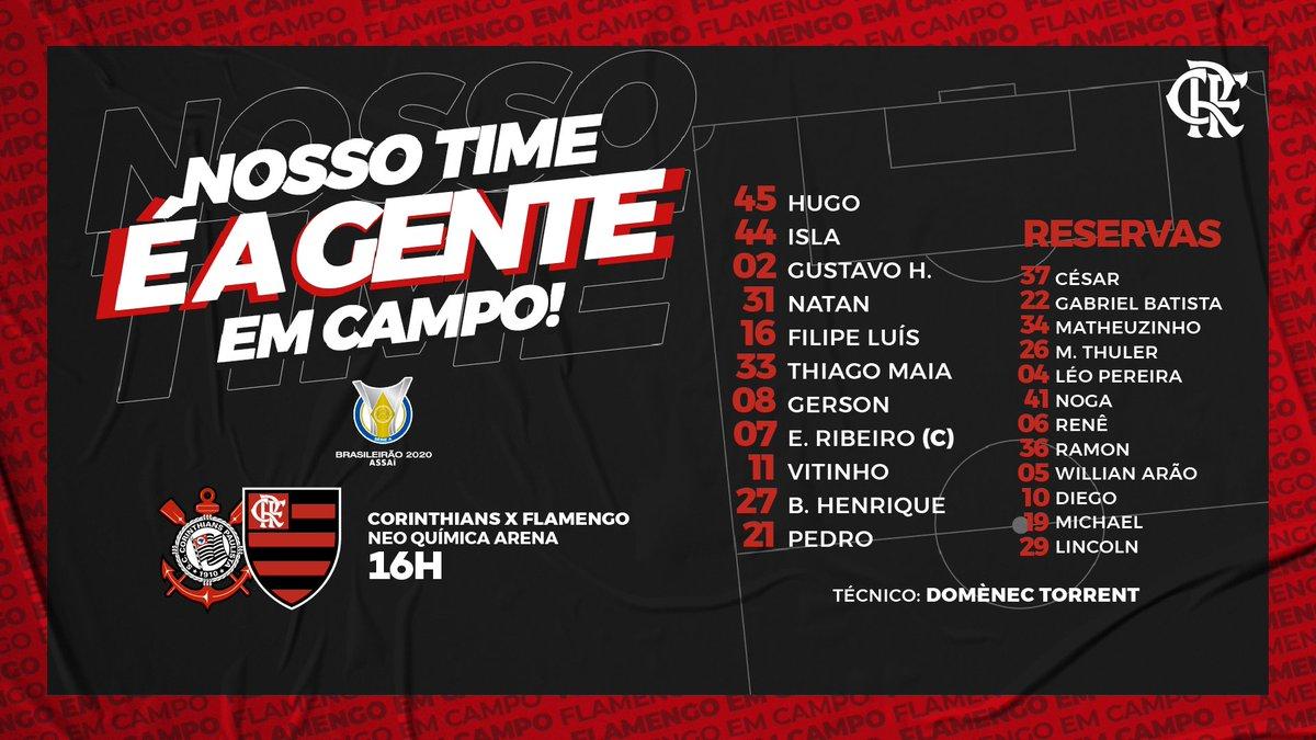 Nosso Time é a Gente em Campo! O Mengão está escalado para enfrentar o Corinthians pelo Brasileirão! VAMOS! #CORxFLA #VamosFlamengo