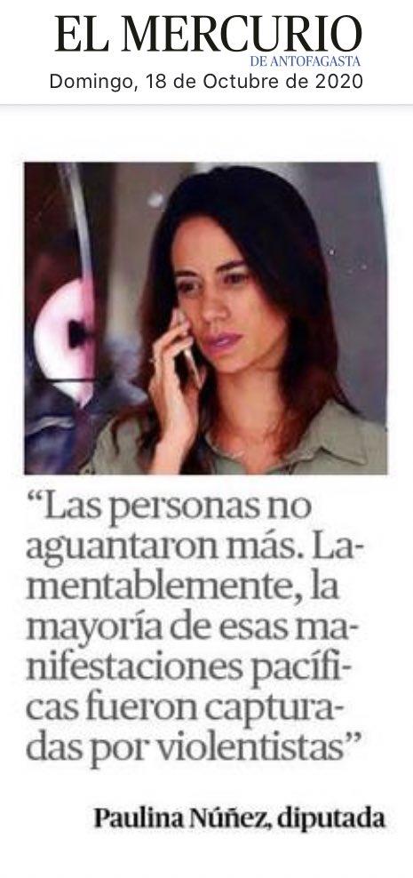 Según la Diputada #Paulina #Nuñez que respalda 100% a #Piñera y voto en contra del retiro 10% de las #AFP, todas las #manifestaciones son capturadas por #violentistas🤔#Antofagasta https://t.co/RmjCjzc9Ew