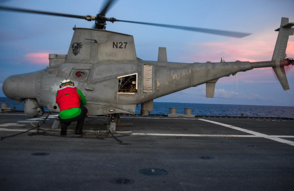 """Bringing the latest tech to the fight. #USNavy Sailors conduct MQ-8B """"Fire Scout"""" flight-ops aboard #USSSiouxCity while deployed to @NAVSOUS4THFLT in support of Joint Interagency Task Force Souths mission, which includes counter illicit drug trafficking in the region."""