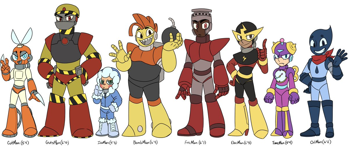 MegaMan Robot Masters redesign lineup!!  I love the OG designs (excluding OilMan's, for obvious reasons) of course, but I put my spin on em!  (May put what I changed + why in comments)  #megaman #cutman #gutsman #iceman #bombman #fireman #elecman #timeman #oilman https://t.co/tQPW86VQBG